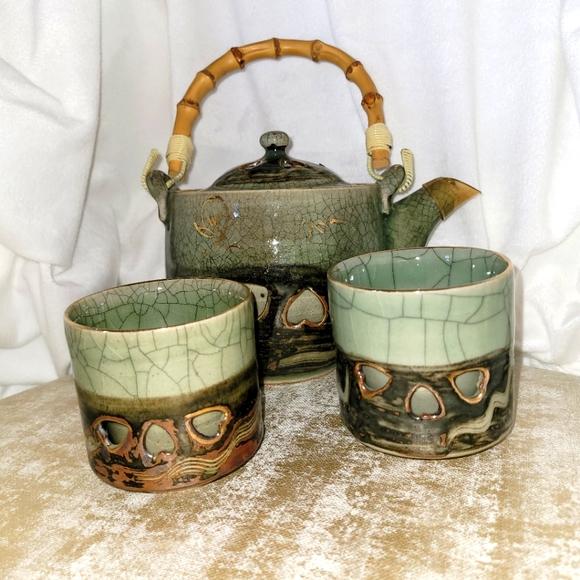 Somayaki Tea Pot Japanese Galloping Horse Double W